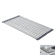 Over the Sink Roll-Up Drying Rack Stainless Steel Kitchen Utensils Organizer
