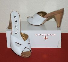 GORGEOUS UNISA UK 6 EU 39 WHITE LEATHER LADIES HIGH HEEL WOODEN MULES
