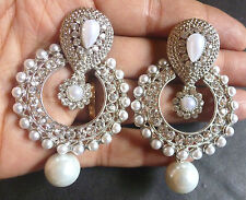 Antique Silver Plated Pearl Round Drop 3 cm Indian Wedding CZ /Jhumka Earrings.,