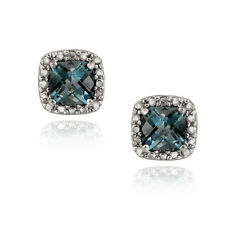 925 Silver 2.6ct Cushion-cut London Blue Topaz Stud Earrings