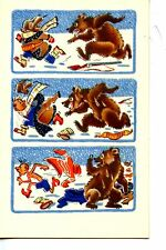 Bear Chases Man-Thin Under Clothes-Humor 1968 Vintage Russian Artwork Postcard