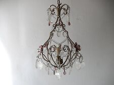 ~c 1920 French Beaded Amethyst Murano Drops Crystal Prisms & Flowers Chandelier~