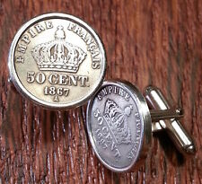 Antique Sterling Silver Napoleon 3 French Imperial Crowns France Coin Cufflinks!