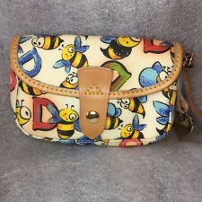 Dooney & Bourke Bumble Bee Wristlet White Flap Snap Insect