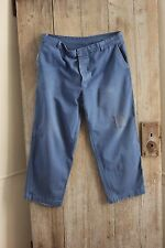Vintage French work chore pants clothes blue farmers utilitarian trousers 38 w