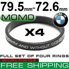 HUB CENTRIC RINGS 79.5 to 72.6mm (MOMO - BMW SET OF 4 RINGS) WORLD FREE SHIPPING