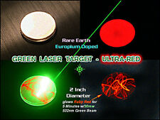 Blue + Green Laser Target 2 Inch/50mm Diameter - Glows Bright Red when struck