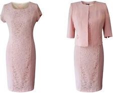 Peach rose blush mère de la mariée marié 2 piece outfit veste robe taille 12