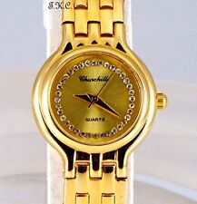 18k Gold Pltd Deco Gem Ladies Classic Bracelet Dress Watch W/ Swarovski Crystals
