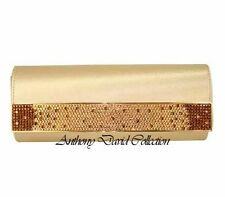 Gold Satin Bronze Crystal Clutch Evening Bag Handbag Purse w/ Swarovski Crystals