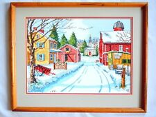 Completed Cross Stitch Snow Scene Country Church Fireside Inn 17X21 Beautiful!
