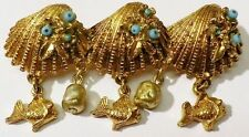 broche vintage 3 coquillages gravé relief perle pampille couleur or * 4439