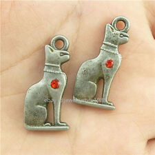 15452*10PCS Vintage Egyptian Goddess Bastet 3D Cat Pendant Charm Alloy Antique
