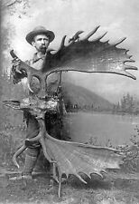 1887 antique hunting photo, Moose antlers, 69 inches, ALASKA, 16x11""