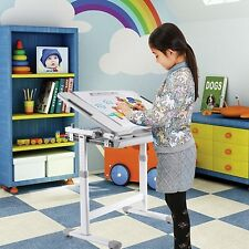 B203 Grey  Kids Study Desk & Chair Set w/Paper Roll Holder B203 Height Adjustabr