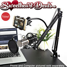 Video Blog Vlogging Kit Pro Recording Mic Scissor Desk Stand Phone Mount & Cable