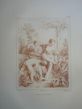 D'AP. F.BOUCHER 1703-1770 LITHO XIX° SANGUINE AMOUR BAIN FEMME ROMANTIQUE ROCOCO
