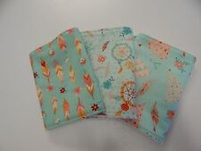 Teepees Dreamcatchers Feathers - Mint Burp Cloths 3 Pack Toweling Backed