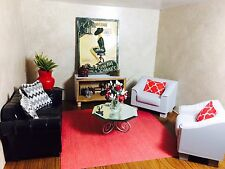 BARBIE,couch/chairs,OOAK,DIORAMA,ADULT MINIATURE,vintage,custom made.silkstone