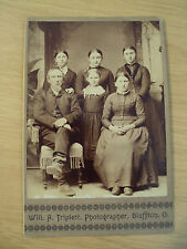 "Antique ca 1880 CABINET Card PHOTO~""FAMILY of 4 DAUGHTERS""~Bluffton OH~"