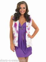Ladies 1960s 1970s Purple Hippy Hippie Fancy Dress Costume Outfit 8-30 Plus Size