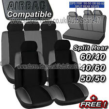 Black,Grey Air Bag Friendly,5 Headrest Covers,Split Rear,Car Seat Covers Set ST1