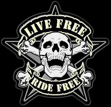 "Biker patch ""scull-Live Ride Ride Free"" back Patch 27x26cm top quali nuevo mc sotana"