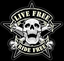"Biker patch ""scull-Live ride ride free"" backpatch 27x26cm top quali nouveau MC Blouson"