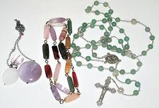 Semi Precious necklace lot Jade Bead Long Rosary