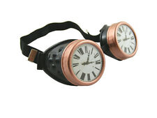 STEAMPUNK CYBER GOGGLES BLACK COPPER CLOCK FACE CYBERGOTH COSPLAY GOTHIC RAVE