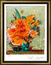 PETER MAX Lithograph Original Artwork Hand Signed Vintage Vase Of Flowers Brown