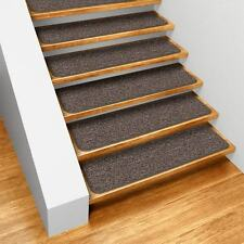 "Set of 15 SKID-RESISTANT Carpet Stair Treads 8""x27"" PEBBLE GRAY runner rugs"