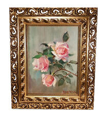 FRAMED VINTAGE EDITH WHITE (1855-1946) CALIFORNIA STILL LIFE OIL PAINTING ROSES