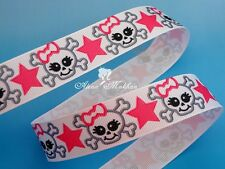 "5 yards 7/8"" Skull Star White Printed Grosgrain ribbon"