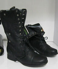 newBlacks Lace Rugged Military Combat Riding Winter sexy mid-calf  boot Size   7