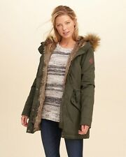 Hollister by Abercrombie Women's  Faux Fur Lined Parka Coat Jacket Olive SIze S