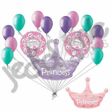 15 pc Lot Princess Crown Happy Birthday Balloon Bouquet Decoration Girl Tiara
