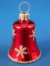 MINI BELL GERMAN BLOWN GLASS CHRISTMAS TREE ORNAMENT RED SILVER STAR