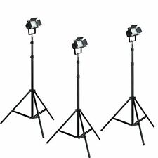 LED 3 Light Photography Photo Video Studio Lighting Kit Barndoors  7ft Stands