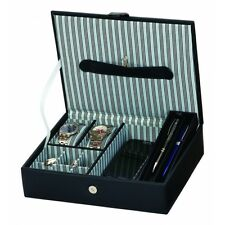 Mele & Co Gents Jewellery Organiser (Blue Striped) for Cufflinks & watches 24273