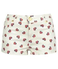 NEW PRIMARK SHORTS HEART FLAG PRINT HOT PANTS CREAM DENIM CO SIZE 6