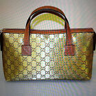 NEW Authentic GUCCI GG Canvas Boston Bag Bowling bag Handbag Gold 264210 8070