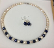 7-8mm White Akoya Cultured Pearl/Lapis Lazuli necklace 18'' earrings