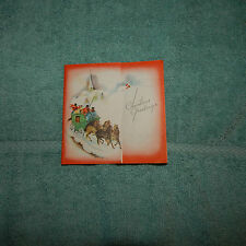 Vintage Christmas Card, Unmarked, Green Coach, Horses, Snowy Church Scene