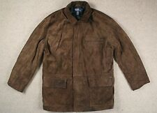 VTG RALPH LAUREN POLO BROWN SUEDE LEATHER LONG DRIVING JACKET BOMBER L/XL