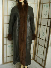 ~MINT BROWN LEATHER COAT JACKET W/ FOX FUR TRIM & RABBIT LINING WOMEN WOMAN12-14