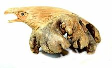 Hand Carved BALD EAGLE HEAD PARASITE WOOD BALI CHINABERRY CARVING BIRD FIGURINE