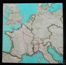 Glass Magic Lantern Slide MAP OF EUROPE POSSIBLY RELATING TO ROMAN ROADS C1910