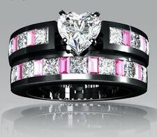 2016 Fashion  White topaz Black Gold Filled Wedding Bridal Ring Gift Size 10