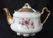 "Vintage ARTHUR WOOD China Heavy Gold Pink FLOWERS 6 1/2""h 4 Cups Teapot"